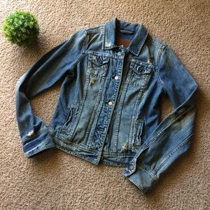 A&F | Distressed Ripped Destroyed Denim Jacket M